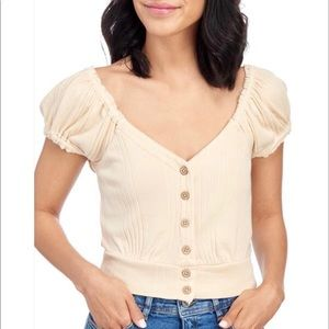 Free People Knit Button Front Crop Top